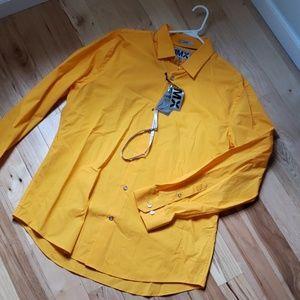 Mens bright orange dress shirt